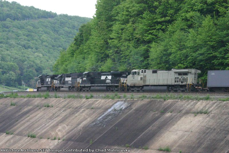 Brace of motors pulling a dinky stack train